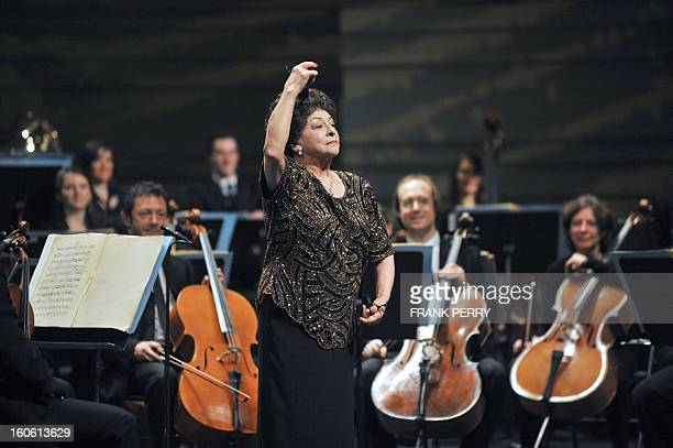 Mexican castanets player Lucero Tena performs during a concert with the Lamoureux orchestra on February 3 as part of the 'Folle Journee' music...