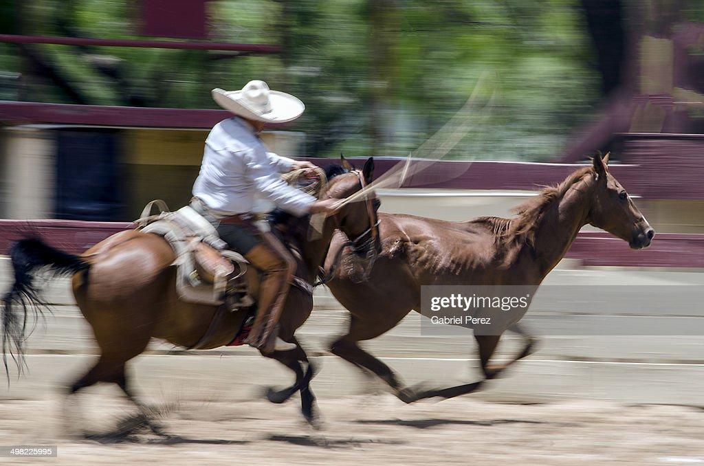 A Mexican Charro Roping A Horse