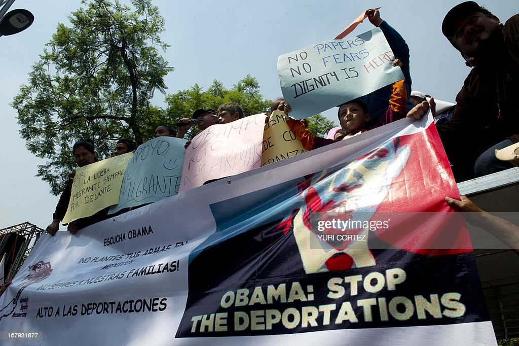 Mexican children born in the United States and deported to Mexico take part in a protest organized by the Meso-American Migrant Movement to demand the deportation of Mexicans from the US to stop, on May 2, 2013 in front of the US embassy in Mexico City. Migration will be among the top issues when US President Barack Obama visits Mexico and Costa Rica this week, and many in the region hope Washington will finally act to give 11 million undocumented workers a path to citizenship. Obama headed to Mexico on Thursday to put trade back at the heart of bilateral ties, but his southern neighbour's shifting drug war tactics loom large over the visit. AFP PHOTO / Yuri CORTEZ