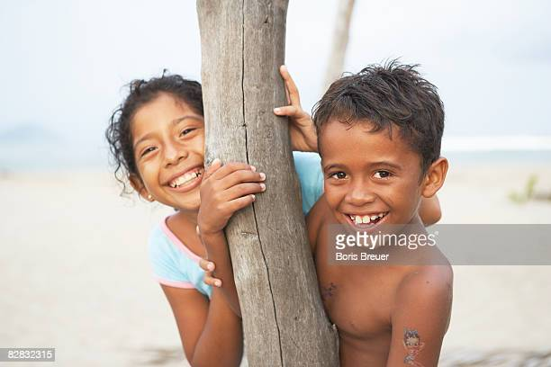 Mexican Children playing on beach