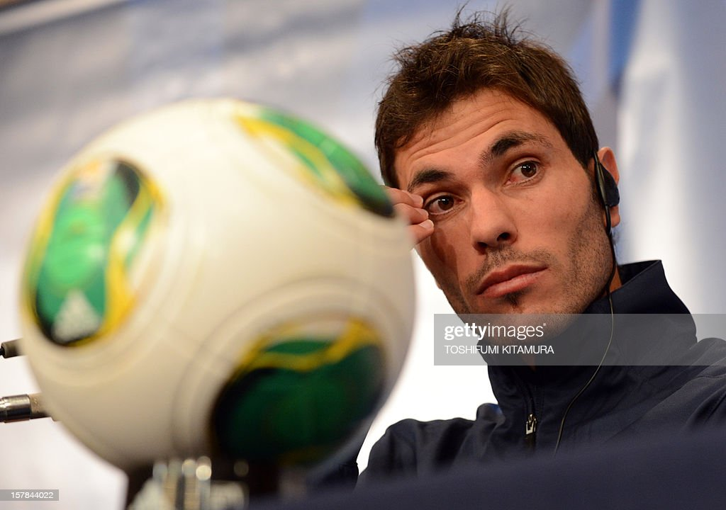 Mexican club team Monterrey captain and defender Jose Maria Basanta answers a question during the team's press conference at a hotel in Nagoya, Aichi prefecture while participating in the FIFA Club World Cup in Japan 2012 on December 7, 2012. The ninth edition of the FIFA Club World Cup football tournament is taking place from December 6 to 16.