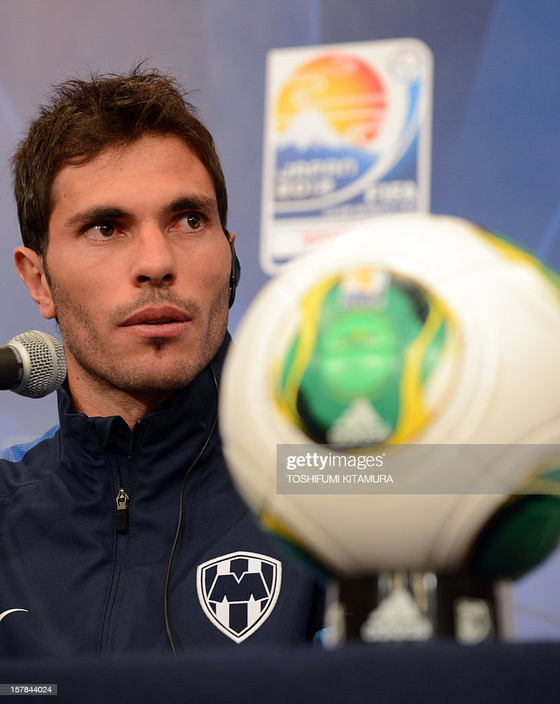 Mexican club team Monterrey captain and defender Jose Maria Basanta answers a question during the team's press conference at a hotel in Nagoya, Aichi prefecture while participating in the FIFA Club World Cup in Japan 2012 on December 7, 2012. The ninth edition of the FIFA Club World Cup football tournament is taking place from December 6 to 16. AFP PHOTO / TOSHIFUMI KITAMURA