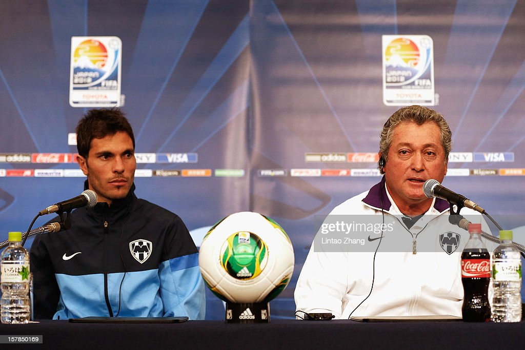 Mexican club team Monterrey head coach Victor Vucetich (R) answers questions with Mexican club team Monterrey captain <a gi-track='captionPersonalityLinkClicked' href=/galleries/search?phrase=Jose+Maria+Basanta&family=editorial&specificpeople=5796788 ng-click='$event.stopPropagation()'>Jose Maria Basanta</a> during CF Monterrey press conference at Nagoya Mariott Associa Hotel on December 7, 2012 in Nagoya, Japan.