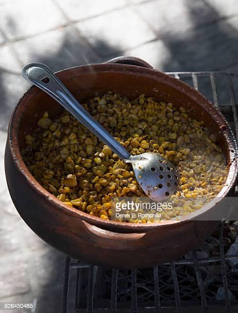 Mexican corn dish prepared on street