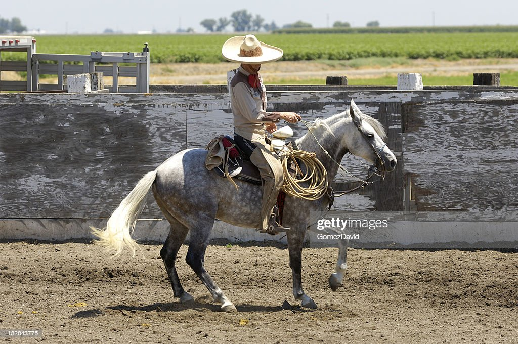 Mexican Cowboy in Rural Rodeo Arena