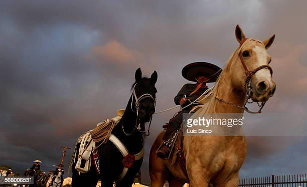 A Mexican cowboy known as a Charro leads a riderless horse Wednesday Nov 10 during the funeral for Emelio Franco the owner of two popular Los Angeles...