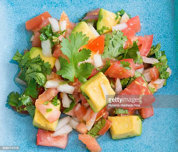 Mexican cuisine Pico de Gallo The dish is a fresh uncooked salad made from chopped tomato onion cilantro fresh serranos salt and key lime juice Other...