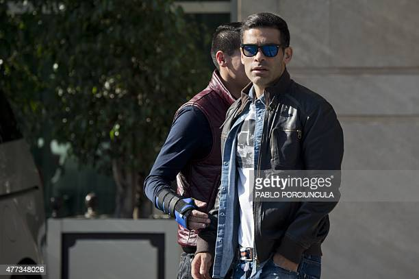 Mexican defender Rafael Marquez leaves the hotel during his day off in Santiago during the Copa America 2015 on June 16 2015 AFP PHOTO / PABLO...