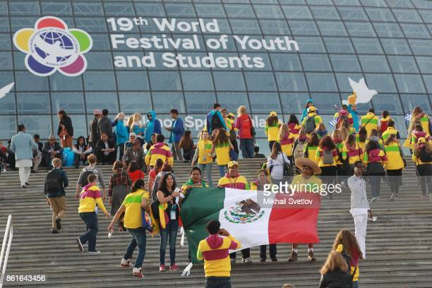 Mexican delegation pose for a photo prior to the opening ceremony of the 19th World Festival of Youth and Students in Sochi Russia October 2017...