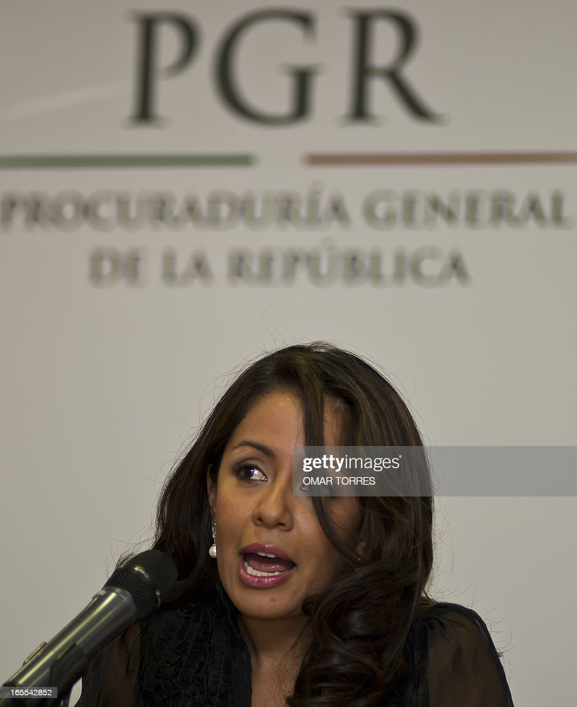 Mexican Deputy Attorney General for Legal and International Affairs, Mariana Benitez, speaks during the announcement that a group of people where arrested accused of trying to assassinate a leftist senator and a deputy, who are brothers, in Mexico City on April 4, 2013.