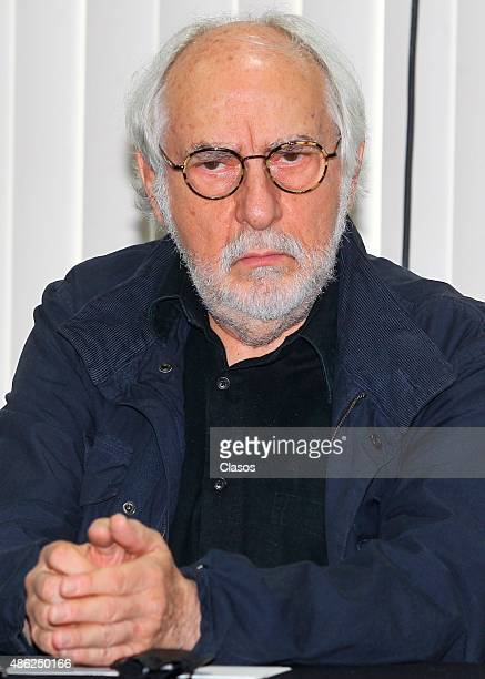 Mexican director Arturo Ripstein gestures during 'La Calle de la Amargura' film press conference at Instituto Mexicano De Cinematografia on August 31...
