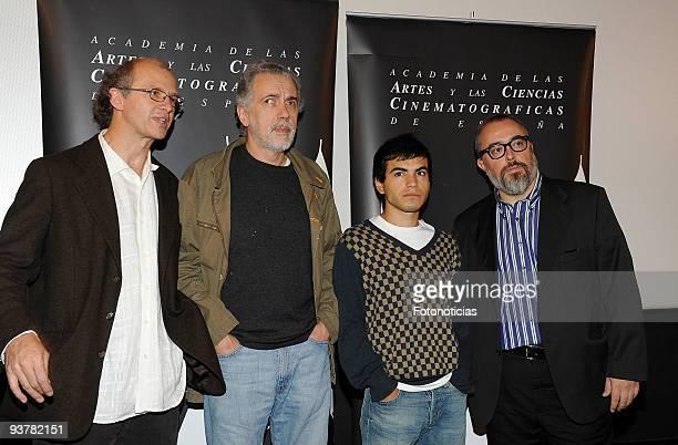 Mexican director Juan Carlos Rulfo director Fernando Trueba actor Abel Ayala and director and president of Spain's Academy of Cinema Alex de la...