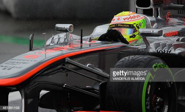 Mexican driver Sergio Perez of Vodafone MclarenMercedes motorracing team drives during the first practice session at the Interlagos racetrack in Sao...