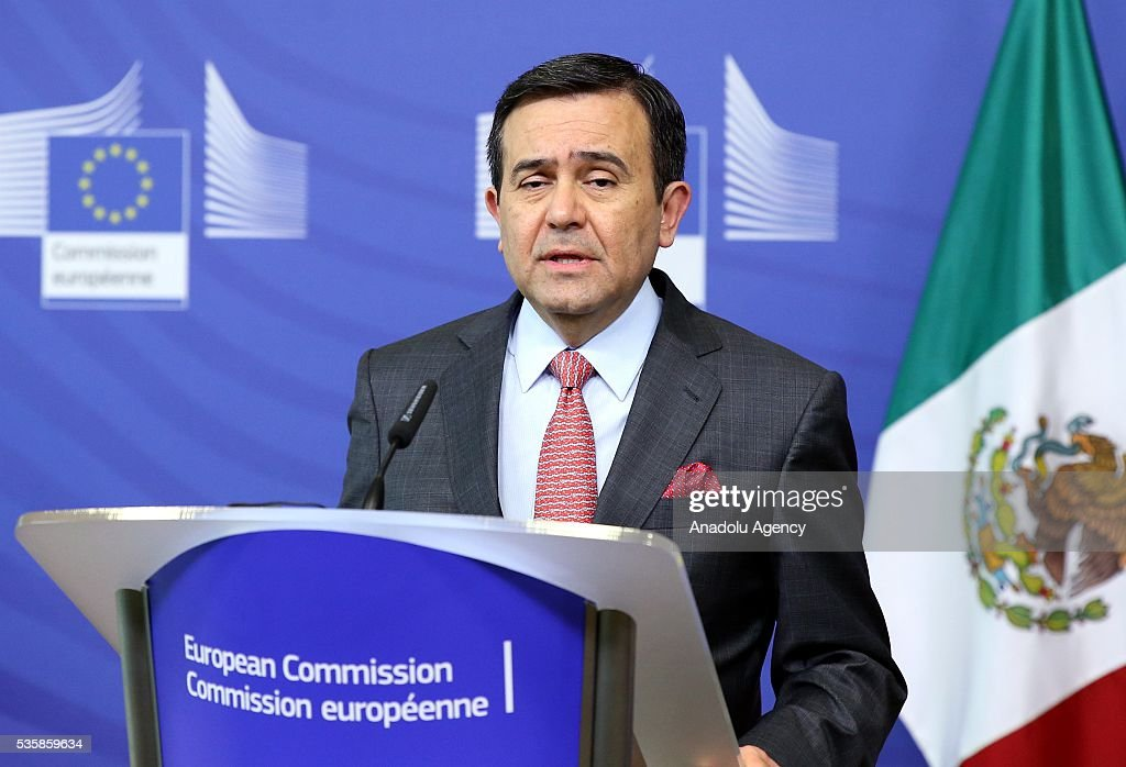 Mexican Economy Minister Ildefonso Guajardo Villarreal delivers a speech during a joint press conference with European Commissioner for Trade, Cecilia Malmstrom (not seen) after a meeting in Brussels, Belgium on May 30, 2016.