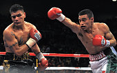 Mexican Eduardo Escobedo fights with his compatriot Daniel Ponce de Leon at the MGM Grand Garden Arena in Las Vegas Nevada 08 December 2007 This WBO...