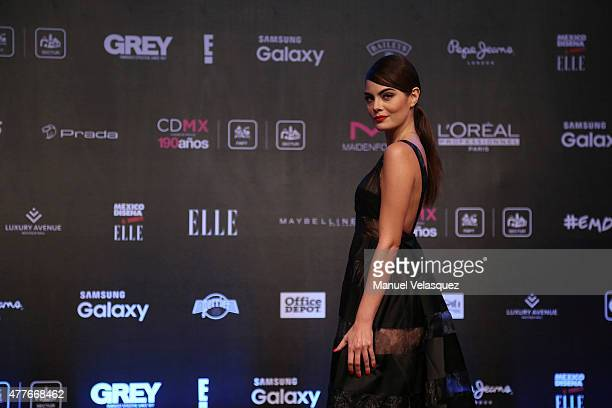 Mexican ex Miss Universe Ximena Navarrete poses during a red carpet prior the presentation of the 9th edition of 'Elle Mexico Designs 2015' at Bosque...