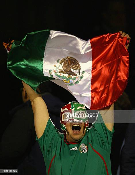 Mexican fan celebrates during the international friendly match between Ghana and Mexico at Craven Cottage on March 26 2008 in London England