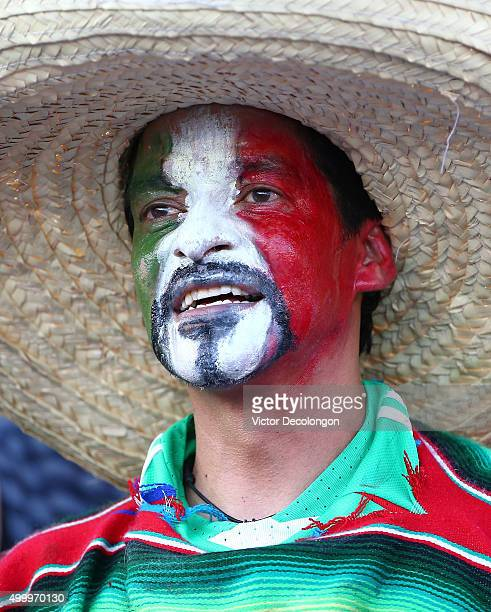 Mexican fan cheers on during the 2017 FIFA Confederations Cup Qualifying match between Mexico and the United States at Rose Bowl on October 10 2015...