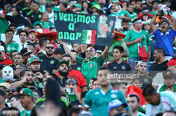 Mexican fan holds up a sign to show his support prior to the 2017 FIFA Confederations Cup Qualifying match between Mexico and the United States at...