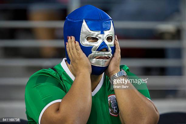 Mexican fan reacts toa a 70 loss to Chile during a Quarterfinal match at Levi's Stadium as part of Copa America Centenario US 2016 on June 18 2016 in...