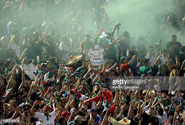 Mexican fans celebrate after Paul Aguilar of Mexico scored the game winning goal against the United States in extra time during the 2017 FIFA...