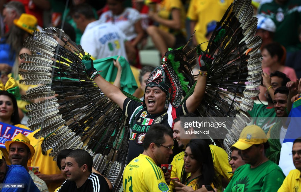 Mexican fans look on during the Group A match of the 2014 World Cup between Brazil and Mexico at the Estadio Castelao on June 17, 2014 in Fortaleza, Brazil.
