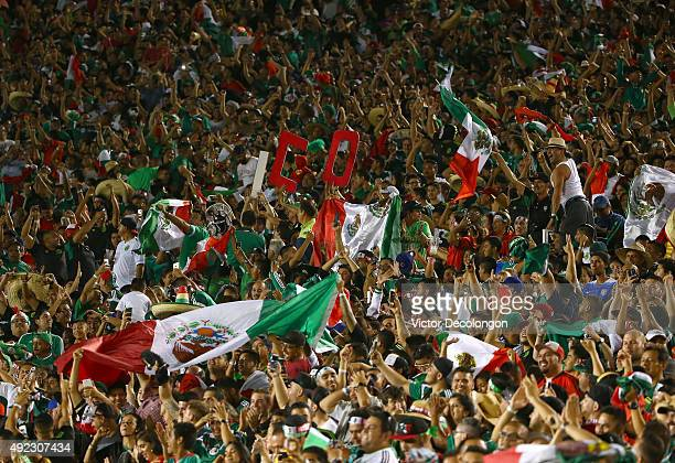 Mexican fans react after a goal by Oribe Peralta of Mexico in the first half of extra time during the 2017 FIFA Confederations Cup Qualifying match...