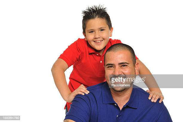 Mexican father proud with his 8 year old boy
