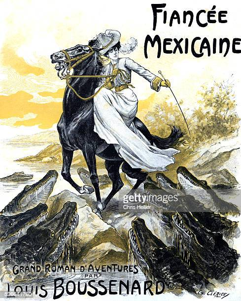 Mexican Fianc�� Book Cover of an Early Adventure Story by Louis Boussenard 1904 Showing a Horsewoman Attacked by Crocodiles or Alligators
