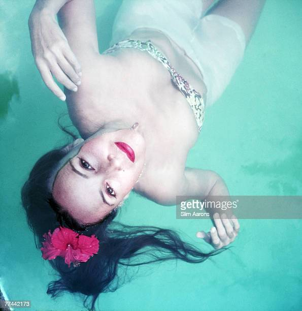 Mexican film star Dolores Del Rio swimming in Acapulco Mexico 1952