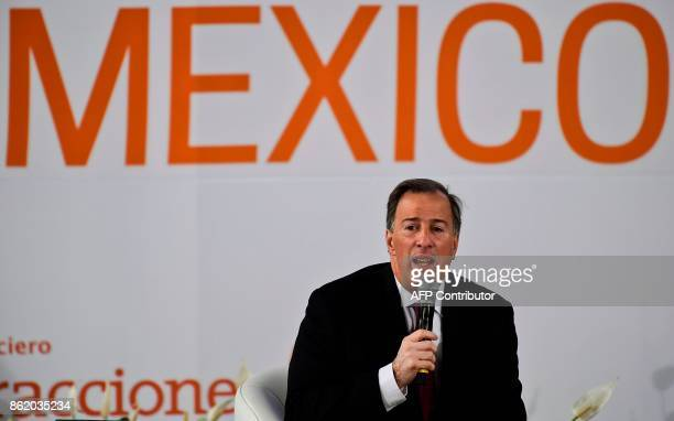 Mexican Finance Minister Jose Antonio Meade delivers a speech during the forum 'Impulsando a Mexico' in Mexico City on October 16 2017 / AFP PHOTO /...