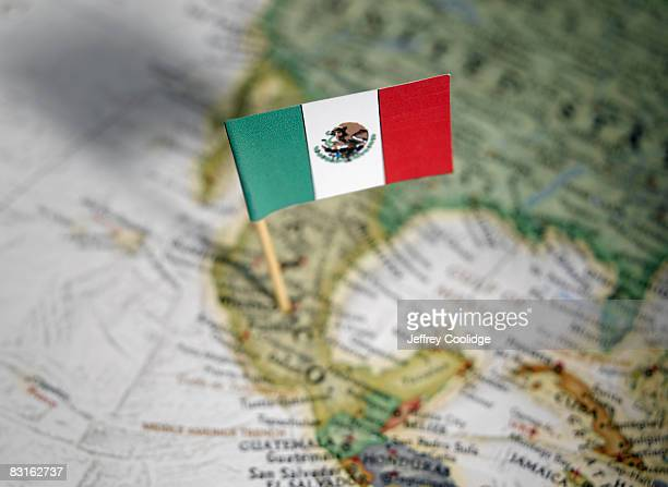 Mexican flag in map