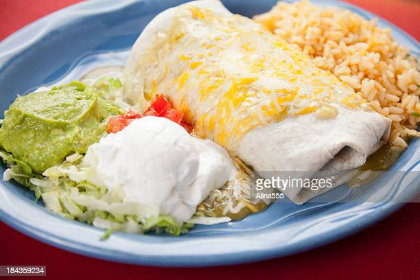 Mexican food: plate with burrito and cilantro rice
