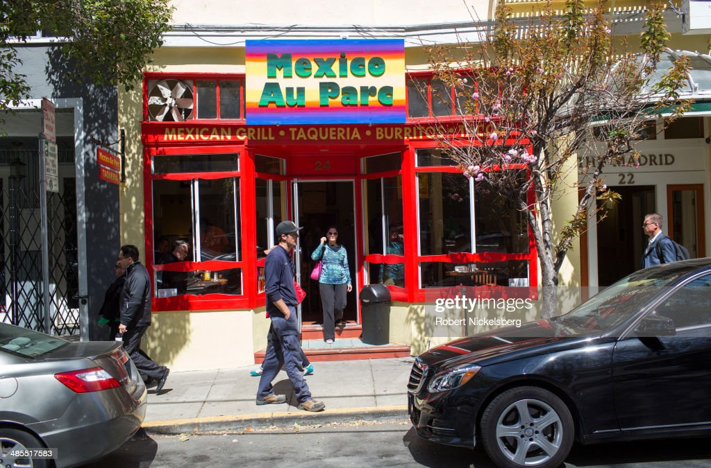 A Mexican food restaurant is viewed April 14, 2014 in the heart of the South Park's start-up district in San Francisco, California.