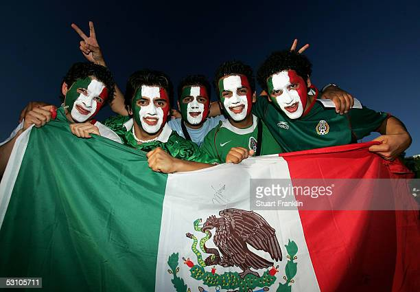 Mexican football fans at The FIFA Confederations Cup Match between Mexico and Brazil at The AWD Arena on June 19 2005 in Hanover Germany