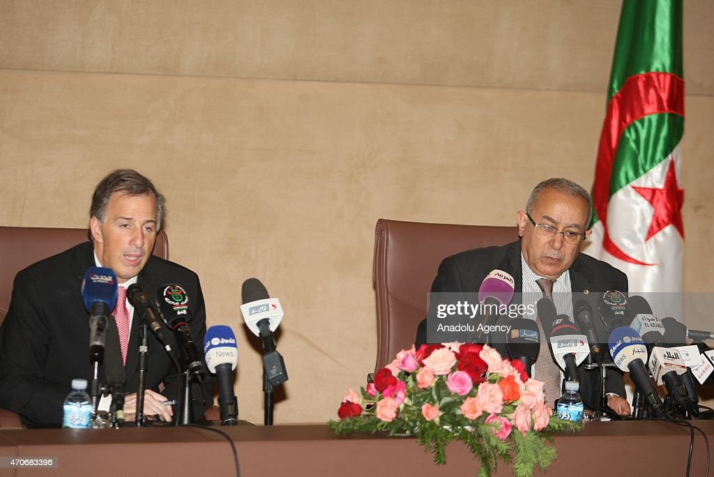 Mexican Foreign Minister Jose Antonio Meade Kuribrena (L) delivers a speech during a joint press conference with Algerian Foreign Minister <a gi-track='captionPersonalityLinkClicked' href=/galleries/search?phrase=Ramtane+Lamamra&family=editorial&specificpeople=5486120 ng-click='$event.stopPropagation()'>Ramtane Lamamra</a> (R) during his official visit in Algiers, Algeria on April 22, 2015.