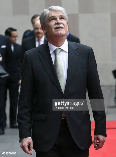 Mexican Foreign Minister Luis Videgaray and Spain's Minister of Foreign Affairs and Cooperation Alfonso Dastis arrive at the Mexican Foreign Ministry...