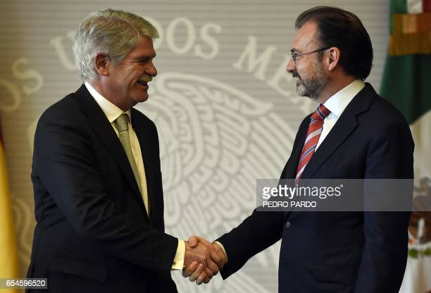 Mexican Foreign Minister Luis Videgaray and Spain's Minister of Foreign Affairs and Cooperation Alfonso Dastis shake hands at the Mexican Foreign...