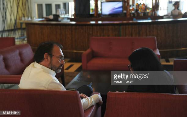 Mexican Foreign Minister Luis Videgaray and Venezuelan Foreign Minister Delsi Rodriguez talks after the opening ceremony of the XXII Ordinary Meeting...