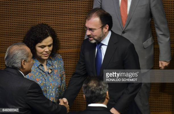 Mexican Foreign Minister Luis Videgaray arrives at the Mexican Senate to deliver a speech on relations with the United States on February 28 2017 in...