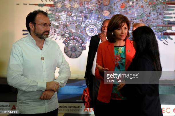 Mexican Foreign Minister Luis Videgaray Colombian Foreign Minister Maria Angela Holguin and Venezuelan Foreign Minister Delcy Rodriguez meet after...
