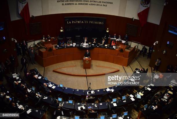 Mexican Foreign Minister Luis Videgaray delivers a speech on relations with the United States in the Mexican Senate on February 28 2017 in Mexico...