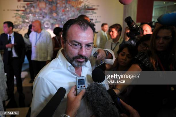 Mexican Foreign Minister Luis Videgaray talks to the press after the opening ceremony of the XXII Ordinary Meeting of the Council of Ministers of the...
