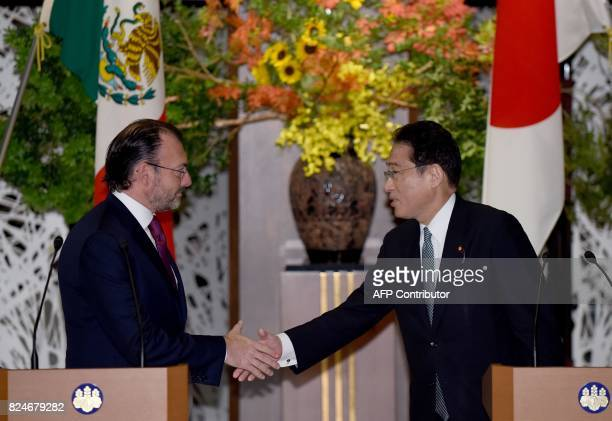 Mexican Foreign Secretary Luis Videgaray Caso is welcomed by his Japanese counterpart Fumio Kishida before their luncheon meeting at the Iikura...