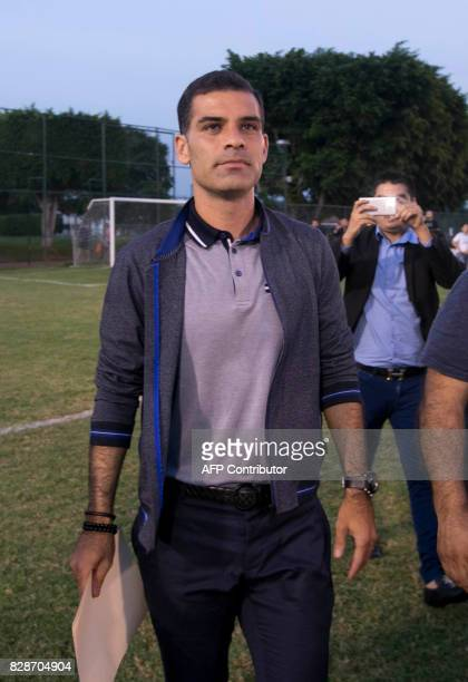 Mexican former FC Barcelona star Rafael Marquez leaves after a press conference in Guadalajara Mexico on August 9 2017 Mexican footballer Rafael...