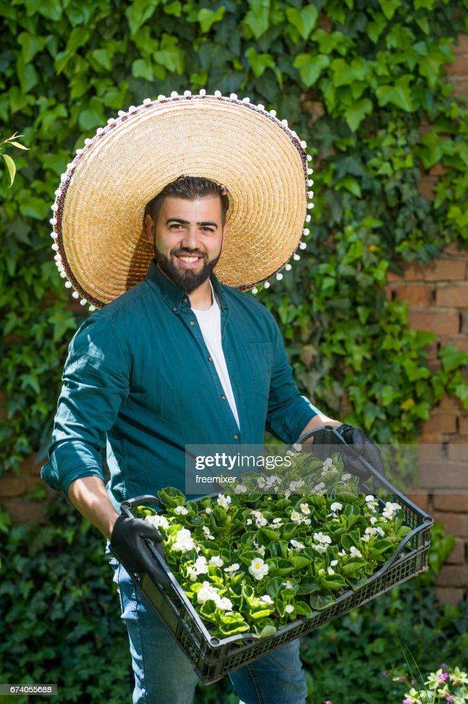 mexican gardener stock photo