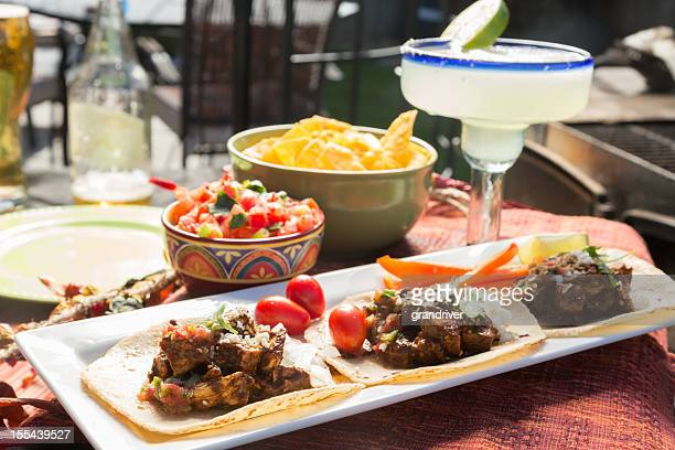 Mexican Grilled Chicken Tacos, Margarita and Fire