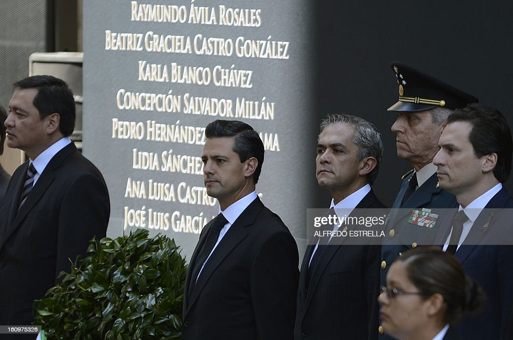 Mexican Interior Minister Miguel Osorio, Mexican President Enrique Pena Nieto, Mexico City's Mayor Miguel Mancera, Defence Secretary General Salvador Cienfuegos and Pemex's Chief Executive Officer Emilio Lozoya attend a tribute to the victims of the explosion that rocked the headquarters of Mexico's state-owned oil firm last month, killing 37 people, in Mexico City on February 8, 2013. The explosion, caused by an accumulation of gas, tore through a human resources building next to the company's skyscraper on January 31, destroying lower floors, causing thousands of workers to flee into the street and injuring more than 120 people -- besides the 37 mortal victims.