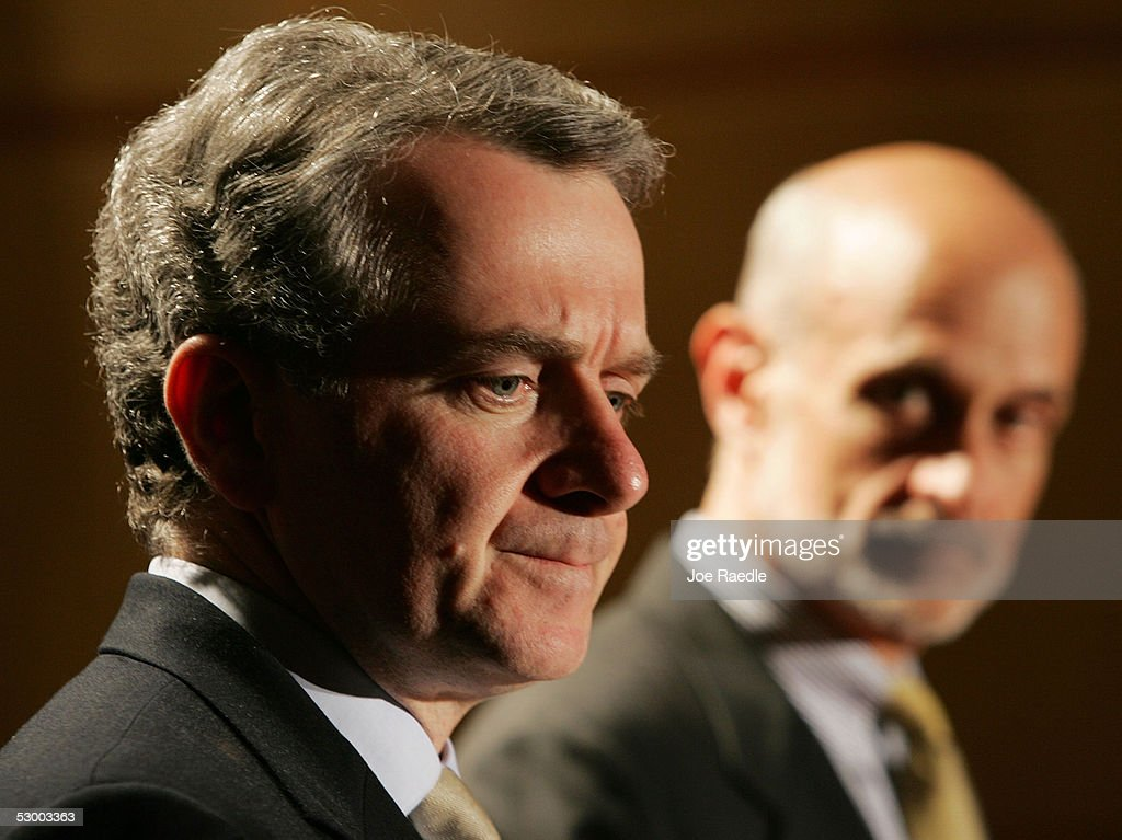 Mexican Interior Minister Santiago Creel attends a news conference with US Secretary of Homeland Security Michael Chertoff May 31 2005 in Washington...