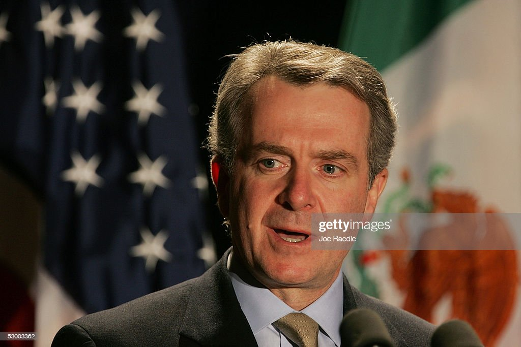 Mexican Interior Minister Santiago Creel speaks during a news conference with US Secretary of Homeland Security Michael Chertoff May 31 2005 in...